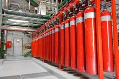 Grandi estintori di CO2 in una centrale elettrica Fotografia Stock Libera da Diritti