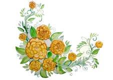 Grandi fiori gialli dell'acquerello con le foglie Immagine Stock