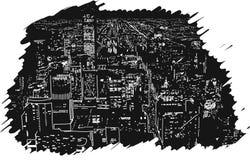 Grandi gomma di vettore dell'illustrazione Handcrafted della città luci disegnata Immagini Stock