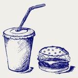 Grandi hamburger e soda illustrazione vettoriale