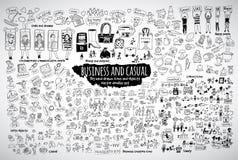 Grandi icone casuali ed oggetti di scarabocchi di affari del pacco Fotografia Stock