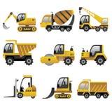 Grandi icone dei veicoli della costruzione Fotografie Stock Libere da Diritti