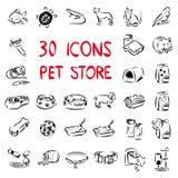 Grandi icone dell'insieme per il deposito dell'animale domestico illustrazione di stock