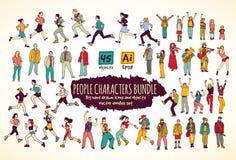 Grandi icone di colore di scarabocchi dei caratteri della gente del pacco Immagini Stock