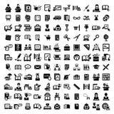 Grandi icone di istruzione messe Immagini Stock Libere da Diritti