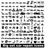 Grandi icone di riparazione dell'automobile dell'insieme Immagine Stock