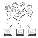 Grandi icone messe, computazione di dati della nuvola Fotografia Stock Libera da Diritti