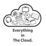Grandi icone messe, computazione di dati della nuvola Fotografie Stock Libere da Diritti