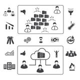 Grandi icone messe, computazione di dati della nuvola Immagini Stock Libere da Diritti