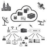 Grandi icone messe, computazione di dati della nuvola Immagini Stock