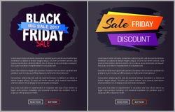 Grandi informazioni 2017 dei manifesti di web di promo di vendita di Black Friday Immagine Stock