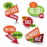 Grandi insegna di vendita dello scoppio e raccolta enormi di scoppio royalty illustrazione gratis