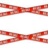 Grandi insegne di rosso di vendita nastri isolati su fondo bianco illustrazione vettoriale