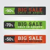 Grandi insegne di vendita. Fotografia Stock