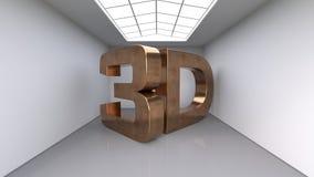 Grandi lettere di rame tridimensionali L'iscrizione 3D Grande stanza bianca illustrazione 3D Fotografia Stock
