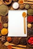 Grandi libro di cucina e spezie immagine stock