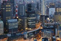 Grandi luci della città - Osaka Japan fotografie stock libere da diritti