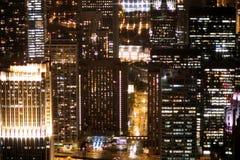 Grandi luci della costruzione della città Fotografia Stock