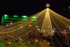 Grandi luci di Natale della stella di panoramica immagini stock