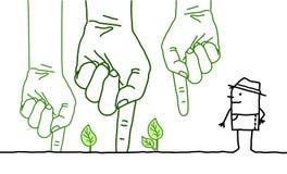 Grandi mani verdi con personaggio dei cartoni animati - piantando Fotografia Stock