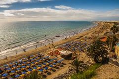 Grandi maspalomas della spiaggia color giallo canarino Fotografia Stock Libera da Diritti