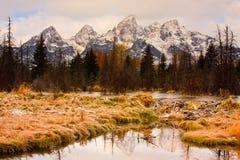 Grandi montagne di Teton e diga del castoro Fotografie Stock