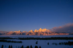 Grandi montagne di Teton in inverno immagine stock libera da diritti