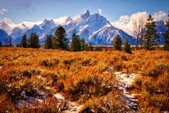 Grandi montagne di Teton, parco nazionale di Teton Immagine Stock