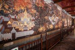 Grandi murali del palazzo di Bangkok, Tailandia Fotografia Stock Libera da Diritti