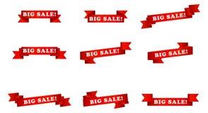 Grandi nastri dell'insegna di vendita Fotografie Stock Libere da Diritti
