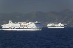 Grandi Navi Veloci Ferryboat off coast of Genoa, Italy Stock Photography