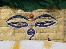 Grandi occhi di Buddha Fotografia Stock