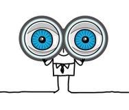 grandi occhi e binocolo Fotografie Stock