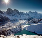 Grandi paesaggi panoramici dell'Himalaya nella valle di Khumbu Fotografia Stock