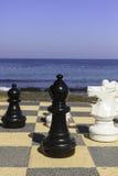 Grandi pezzi degli scacchi su un bordo all'aperto Fotografie Stock Libere da Diritti