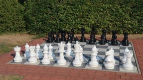 Grandi pezzi degli scacchi su una scacchiera nel giardino fotografia stock