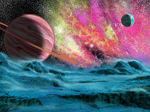 Grandi pianeta e nebulosa Fotografia Stock Libera da Diritti