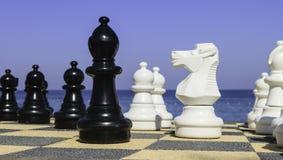 Grandi pices di scacchi accanto all'oceano Immagini Stock