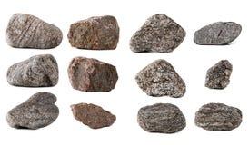 Grandi pietre della raccolta isolate Fotografia Stock Libera da Diritti