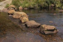Grandi pietre facenti un passo sul fiume Fotografie Stock
