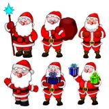 Grandi pose del Babbo Natale di natale della raccolta Fotografie Stock