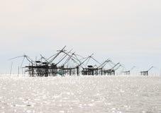 Grandi reti dell'ascensore del pesce Fotografia Stock