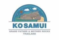 Grandi rocce del padre e madre di Ko Samui, simbolo di logo della Tailandia Fotografie Stock