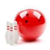 Grandi sfera di bowling e skittles Fotografie Stock Libere da Diritti