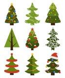 Grandi simboli dell'albero di Natale dell'insieme con senza la decorazione Fotografia Stock
