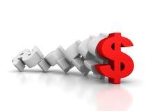 Grandi simboli di valuta del dollaro con un capo di andata rosso Fotografia Stock