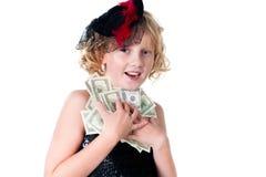 Grandi soldi di amore delle ragazze isolati su bianco Fotografie Stock