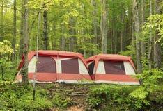Grandi tende di campeggio brillantemente colorate della famiglia nel legno Fotografia Stock Libera da Diritti