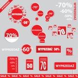 Grandi vendita, autoadesivo ed insegne, promozione Immagini Stock Libere da Diritti