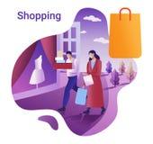 Grandi vendita e concetto di acquisto L'illustrazione piana di vettore per un'insegna L'uomo e la donna vanno a fare spese in una royalty illustrazione gratis